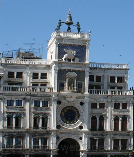Clock tower in san marco square venice